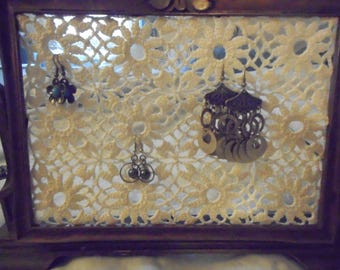 Made by me, old frame, doily earring holder, jewelry display, hand made, one of a kind