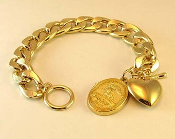 "18 Karat Gold Plated Heart and ""Trusting Souls"" Engravable Bracelet~Miscarriage Angel Bracelet~Chunky Gold Bracelet~Baby Loss Memorial Gift"