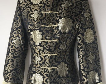 """Vintage Brocade Asian Chinese jacket Frog closing Empress gold collar Black Gold Floral Retro 90's evening jacket Lined small chest 34"""""""