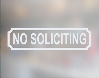 NO SOLICITING Decal. Storefront Business Window/Door Sticker Decal. No Soliciting Door Sign.