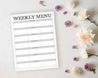 Rustic Menu Planner - Rustic Daily Menu Planner Page - Meal Prep - Dinner Planner - Breakfast, Lunch, Dinner Meal Prep - Instant Download
