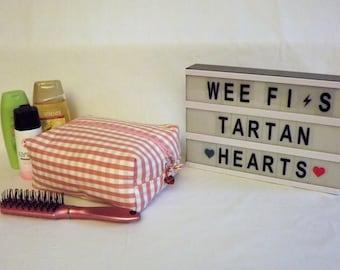 Original design, heavy cotton linen pink check large toilet/wash bag