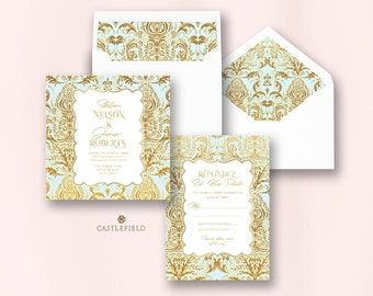Castlefield Light Blue Gold Baroque Flourishes Wedding Event Invitations RSVP Card Stationery Customized Printable Luxury