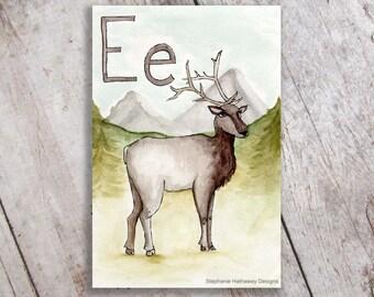 E is for Elk Art Print, Woodland Nursery Art, Children's Room Decor, Initial Name Sign
