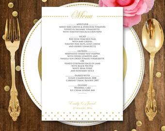 Printable Wedding Menu Gold polka dots - Instant download EDITABLE PDF file - DIY Menu Cards for Print at Home - Digital Template Menu Card