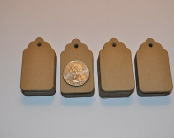100 Small  Blank Gift Tags, 2 x 1.1/8 inches . Price Tags, Handmade Die Cuts, Hang tags,