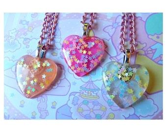Iridescent Stars Heart Resin Necklace