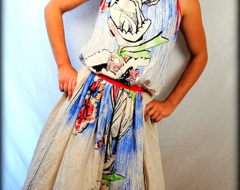 RARE Designer Michaele Vollbracht Abstracted Printed SILK Skirt and Top - Wearable Art