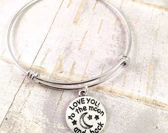 To the moon bangle, charm bracelet, Adjustable bangle bracelet, Love you to the moon bracelet, stainless steel bracelet, for her