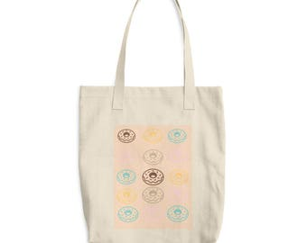 SALE Donuts Cotton Tote Bag, Nature bag, Shopping bag, Canvas bag, Bakery bag, Pastry chef, Gifts, Sweet Dreams, Donut art project