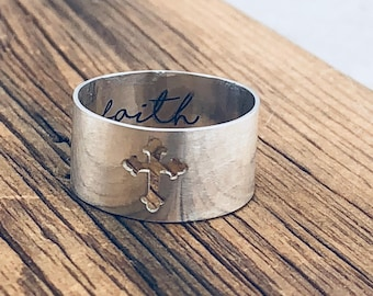 Gift for Her · Personalized Cross Spinner Ring · Personalized Gift · Handwriting Ring · Mixed Metal Ring · Cutout Cross Ring · Faith Ring