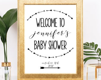 Weclome Baby Shower Sign - Printable - Customizable Text - Black and White Minimalist Arrow Boho Theme - 8.5x11 Digital Download