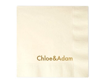 Simple Names Personalized Wedding Napkins