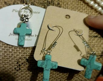 Beautifully Hand Crafted Cross Necklace and earring set