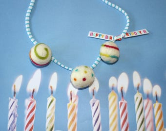 Birthday Felted wool ball Necklace