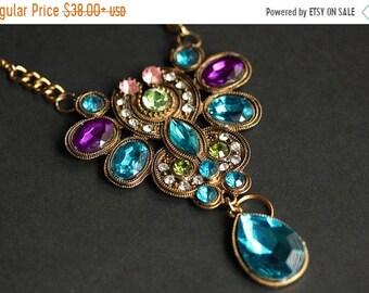 MOTHERS DAY SALE Turquoise Blue Lanyard. Jeweled Badge Lanyard. Art Nouveau Lanyard. Gold Lanyard. Badge Holder. Rhinestone Lanyard Necklace