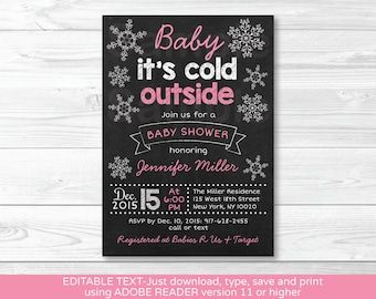 Pink Snowflake Chalkboard Baby Shower Invitation / Snowflake Baby Shower / Winter Baby Shower / INSTANT DOWNLOAD Edit with Adobe Reader A301