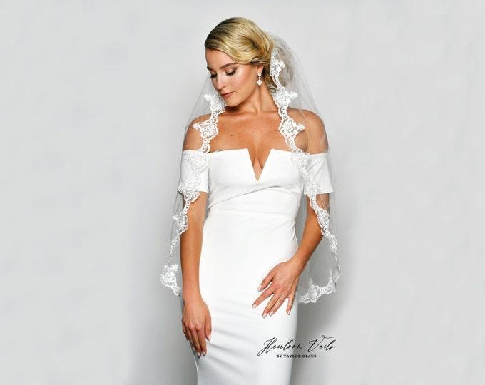 Lace Wedding Veil, Simple Wedding Veil, Multiple Lengths and Colors, Customized Wedding Veil SC-12