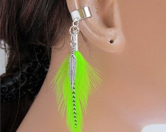 Silver Ear Cuff Earring Lime Green and Grizzly Feathers