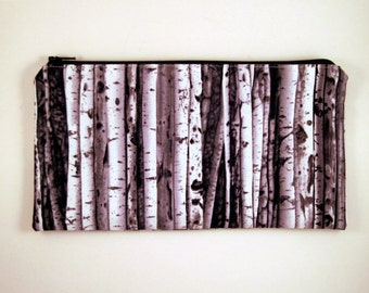 Gray Birch Tree Pencil Pouch, Zipper Pouch, Make Up Bag
