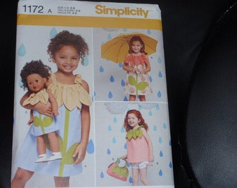 """Simplicity 1172  Child's Dress, Top, Shorts, Purse and Doll Dress for 18"""" Doll Size 3-8 New - Uncut"""