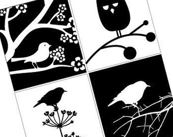 Black and White Birds - Gorgeous 7/8 Inch Pendant Images - Digital Collage - Buy 2 Get 1 Free