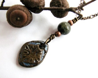 Handmade Pottery Bead Necklace, Jasper Stone, Copper Pendant, Wire Wrapped Eco Friendly Jewelry by Hendywood