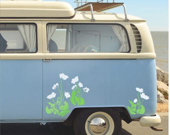 Pretty Poppy Garden Flowers Decals Stickers Camper Van Wall Art
