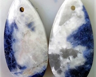 Beauty 100 % Natural blue white Sodalite Teardrop shape pair Pendant 26x13x5mm  ММА