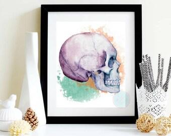 PRINTABLE Digital Print Skull Art Print Watercolor Skull Art Human Skull Prints Skull Print Watercolor Poster Skull Decor Skull Decoration