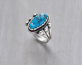 Vintage Turquoise Nugget Ring - sterling silver bright blue oval stone raindrop ball accents - Native American statement ring - Size 7.25