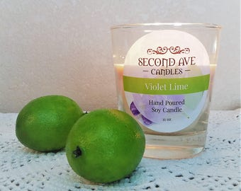Violet Lime Scented 11oz Glass Container Candle