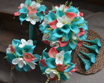 Turquoise Blue Coral Wedding Bouquets Real Touch Callas Lilies Ivory White Plumerias Wedding Package Boutonnieres
