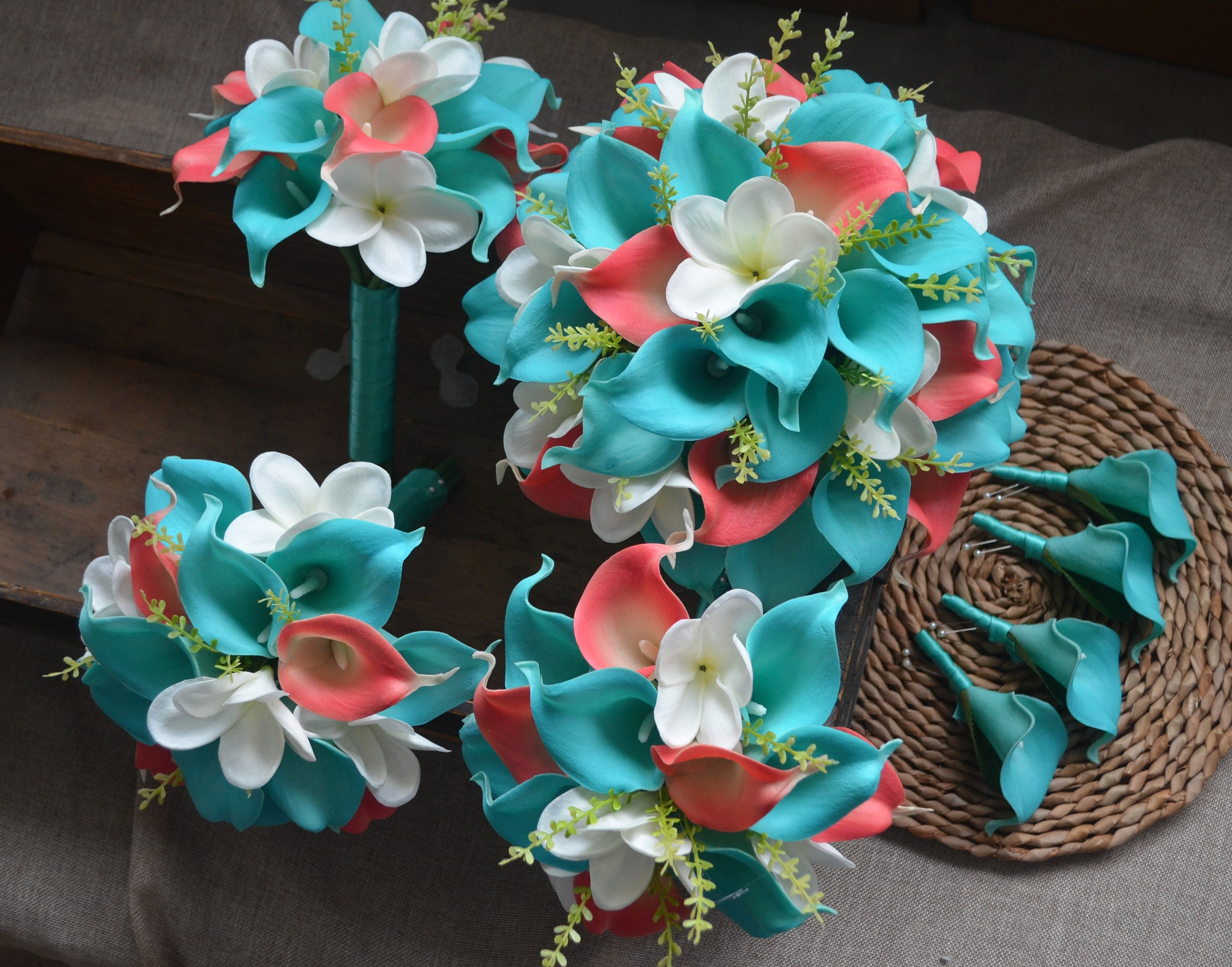 Turquoise Blue Coral Wedding Bouquets Real Touch Callas Lilies