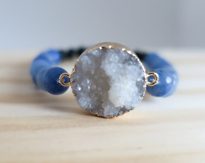 Featured listing image: Druzy Stone Pendant | Aromatherapy | Essential Oil | Lava Rock | Diffuser Bracelet | Beaded Bracelet | Yoga | Stretch Bracelet | Handmade