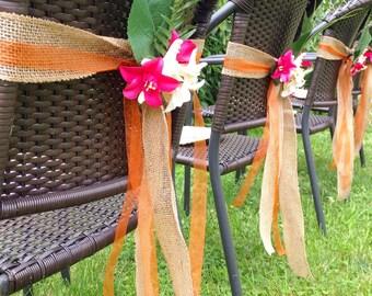 Starfish Aisle Markers, Chair Markers, Beach Wedding Decor, Starfish Lantern Hangers, Orchid Chair Sash