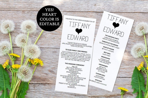 Heart Wedding Program Template Printable Timeline DIY - Lawn care invoice template pdf online lingerie store
