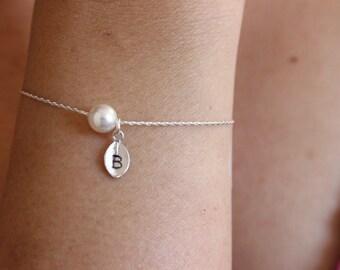 Tiny initial bracelet, personalized pearl bracelet, bridesmaid gift, letter bracelet , dainty bracelet, silver bracelet, simple, minimal