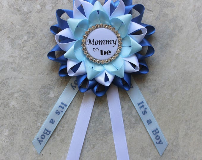 Boy Baby Shower Pin, Baby Boy Shower Corsage, Mommy To Be Corsage, Blue