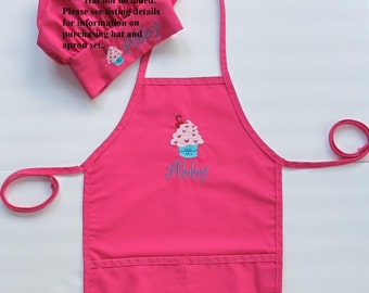 Personalized Kids Apron - Monogrammed Childs Apron - Cupcake