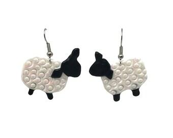 Lamb earrings, sheep earrings, hypoallergenic earrings, lamb jewelry