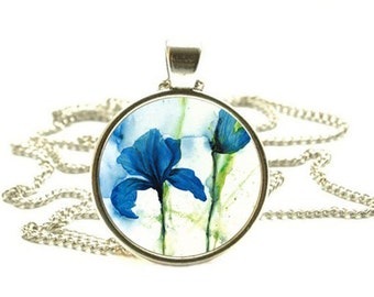 Blue Iris Flower Pendant, Iris Necklace, Blue Iris Jewelry
