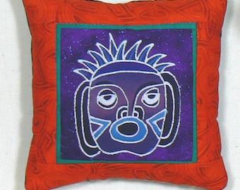 Mini Hanging Pillow, Wall Art Pillow, Easel Pillow, Pillow with Mask, Wall Decor Pillow, Indonesian Batik Pillow, African Mask Applique