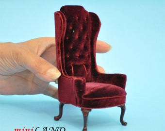 Luxurious Elegant Quality Tall Wingback Chair Royal Red Velvet for dollhouse miniature 1:12 scale