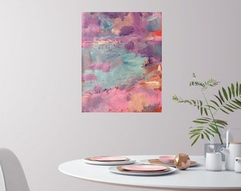 Pink abstract expressionist  painting, sea and ocean  art,  colors, designs, home interior decor, painting, RussPotakArtist