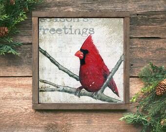 Framed Christmas Art, Christmas Cardinal Art Print, Framed Christmas Bird, Framed Christmas Prints, Farmhouse Christmas Decor