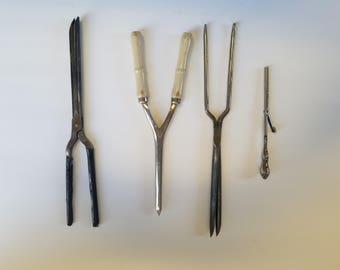 Vintage Curling irons, one Sterling silver