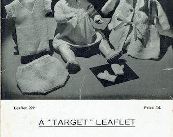 PDF Vintage Doll Clothes Knitting Pattern 1930s Lee Target 229 Layette Dress Matinee Underwear Halo Bonnet RARE