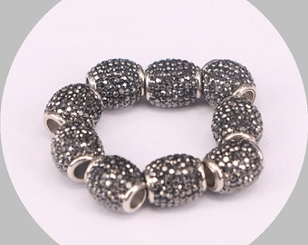 10pcs Pave Crystal Zircon Leather Cords Magnetic Clasps, 6.0mm Hole, Leathe Clasps, Jewelry Findings