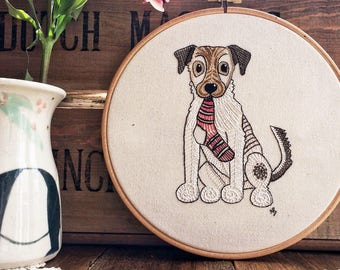 Hand embroidery pattern, pdf download, jack russell terrier, embroidery design, sewing, dog, embroidery hoop art, JRT, dog with sock